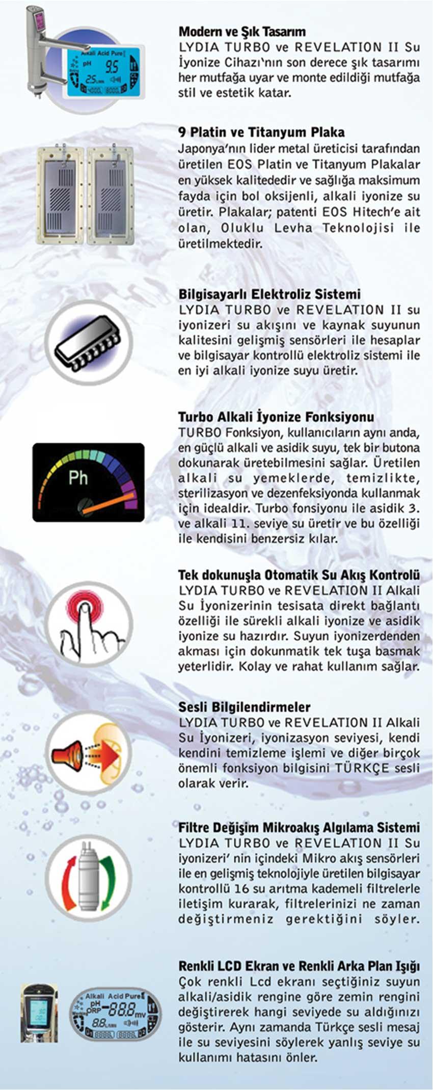 ALKALİ SU İYONİZERİ REVELATION II - OZELLIKLERI